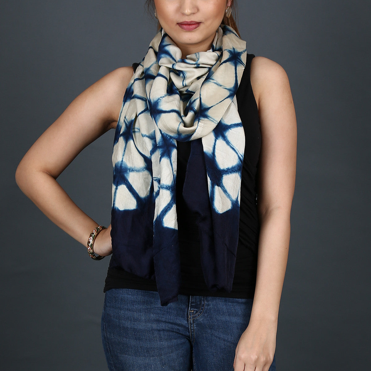 Kutch Tie & Dye Stole in Gajji Silk with Clamp Dye