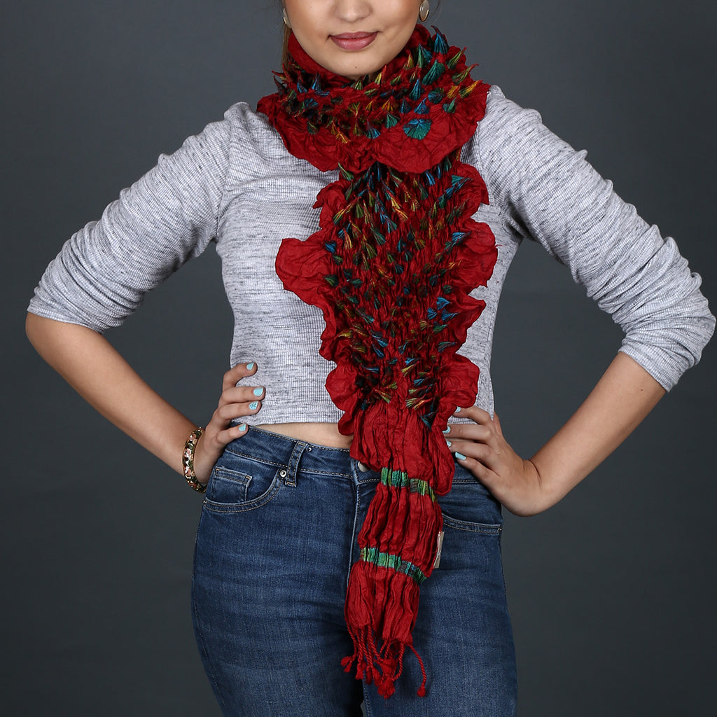 Red coloured Kutch Tie and Dye Stole in Tussar Silk