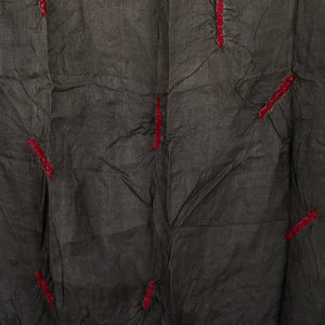 Grey coloured Kutch Bandhni Stole in Tussar Silk with red design