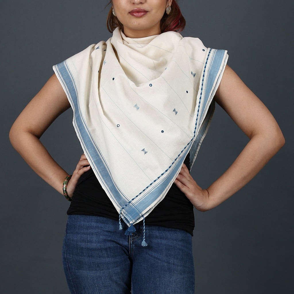 Kutch Handloom scarf with mirror work in cotton