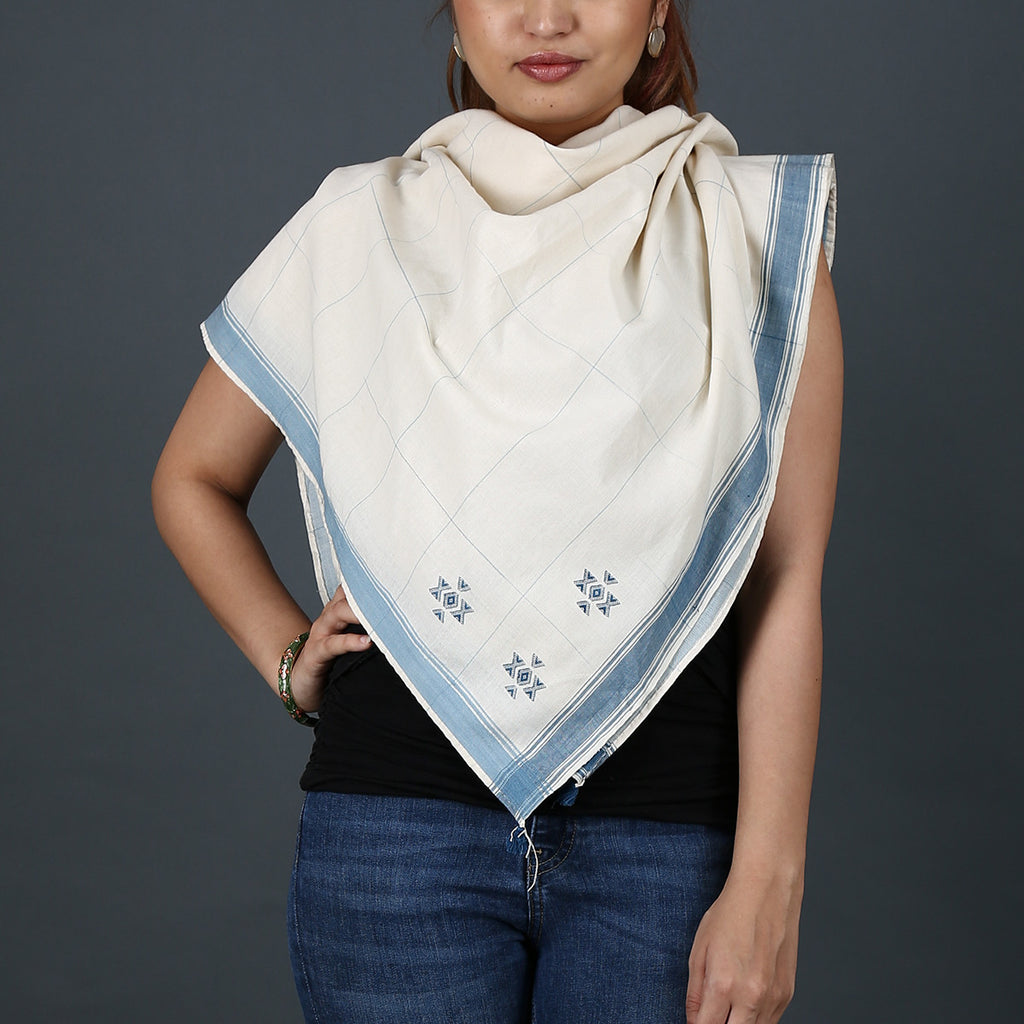 Kutch Handloom scarf with dhunki design in cotton