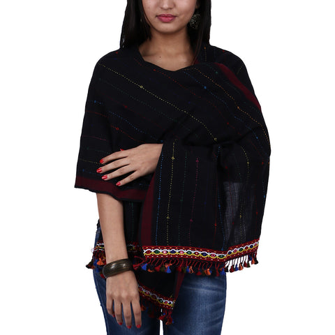 Black Coloured Kutch Handloom Stole in Cotton with Makhli Design