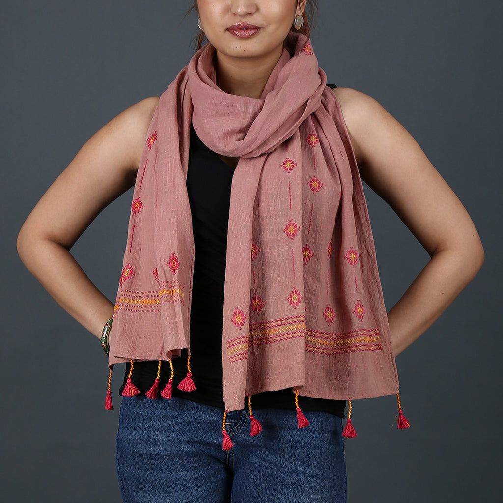 Dark Peach Coloured Suf Embroidered Stole in Khadi Cotton