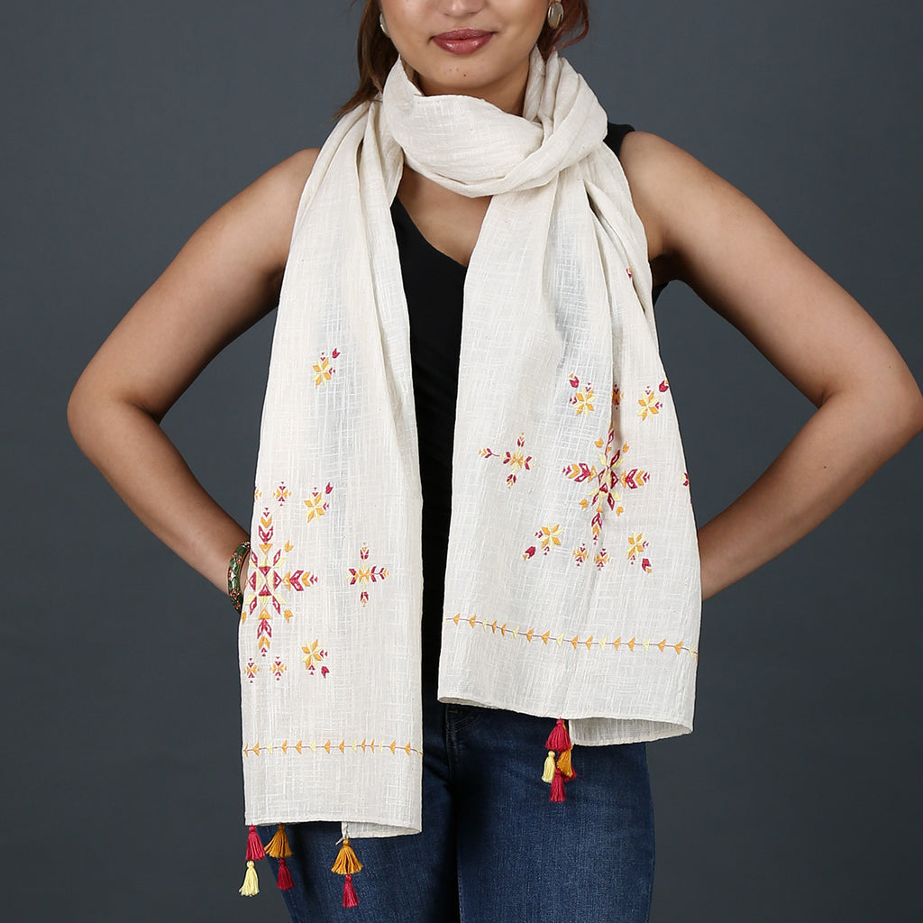 Cream Coloured Suf Embroidered Stole in Khadi Cotton