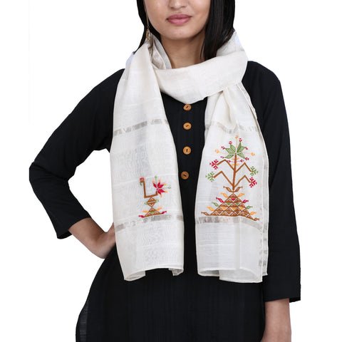Cream Coloured Suf Embroidered Stole in Chanderi Silk with peacock design