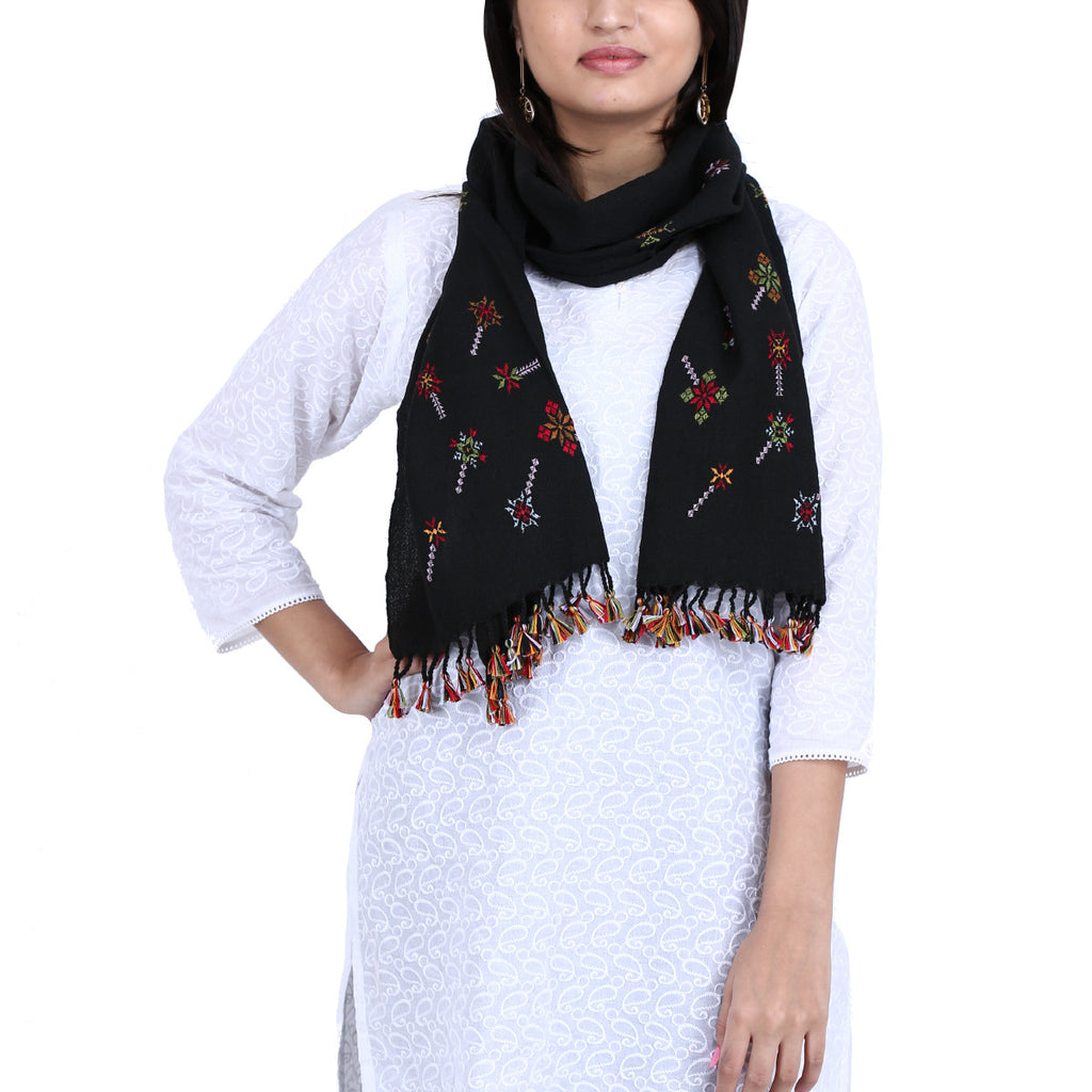 Black Suf Embroidered Stole in Wool