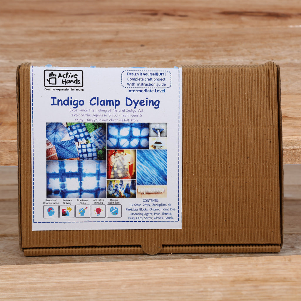 Active Hands Indigo Clamp Dyeing Do It Yourself Kit
