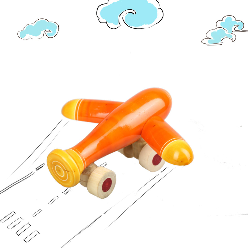 Handmade Wooden Toys from Channapatna - Orange Aeroplane