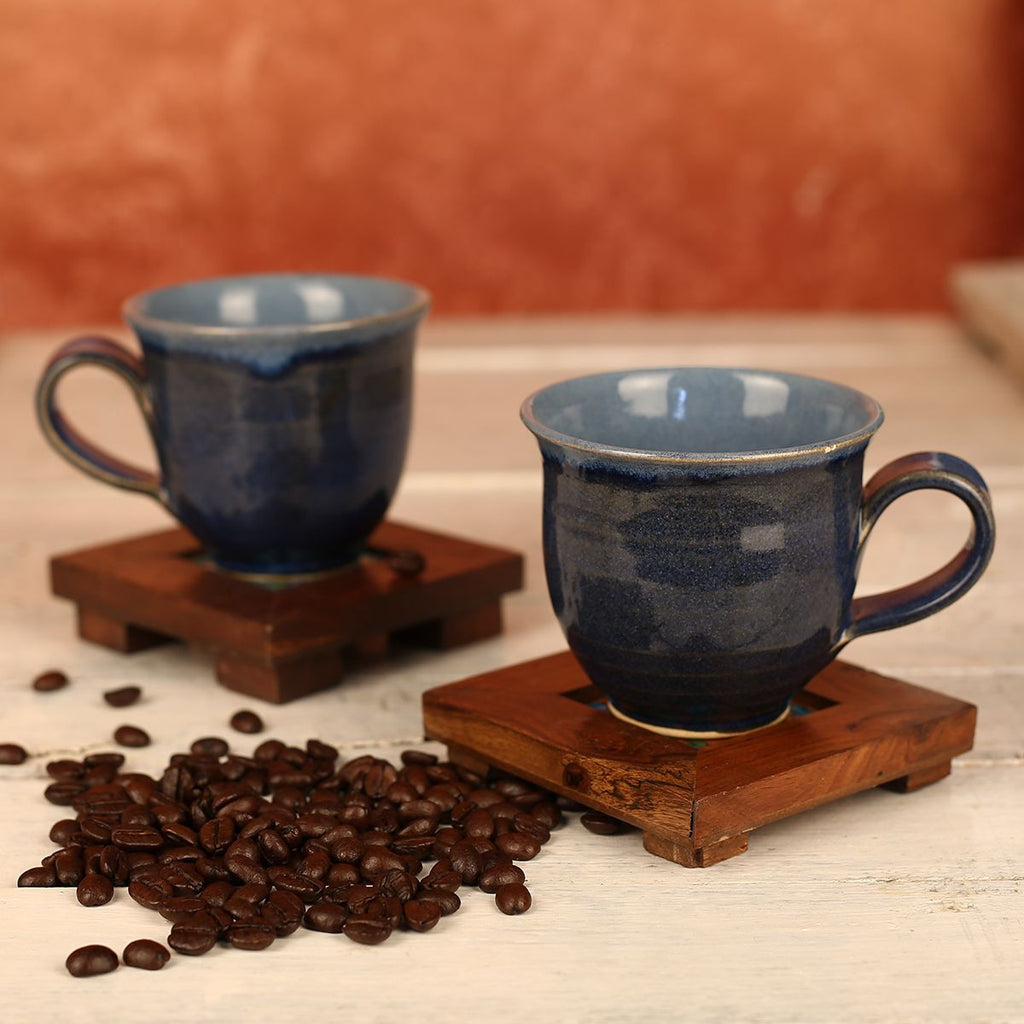 Large Denim Blue Handmade Ceramic Cups from Pondicherry - Set of 2