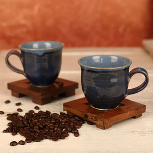 Large Denim Blue Handmade Ceramic Cups from Auroville - Set of 2