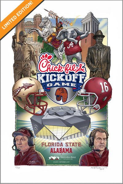 Limited edition print - 2017 Chick-fil-A Kickoff Game gicleé print -Florida State vs Alabama