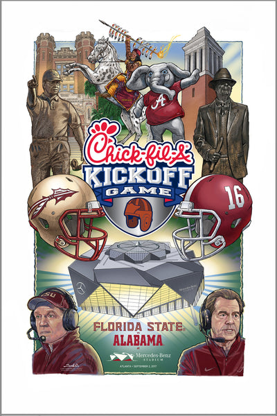 poster - 2017 Chick-fil-A Kickoff Game official art - Florida State vs Alabama
