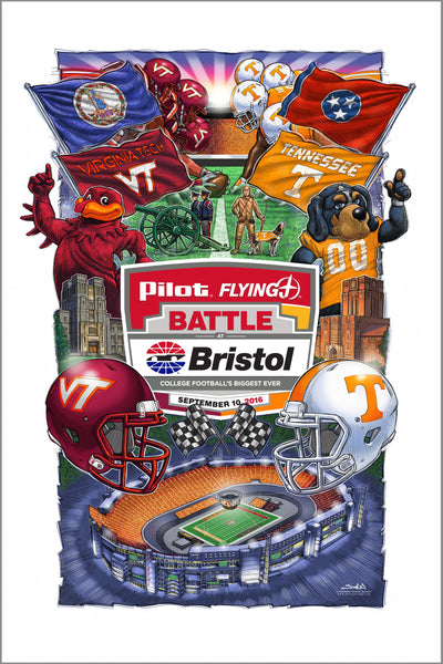 Battle at Bristol poster 2016 - Tennessee vs Virginia Tech - limited number remaining