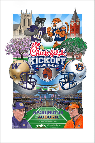 poster - 2018 Chick-fil-A Kickoff Game official art! Washington vs Auburn
