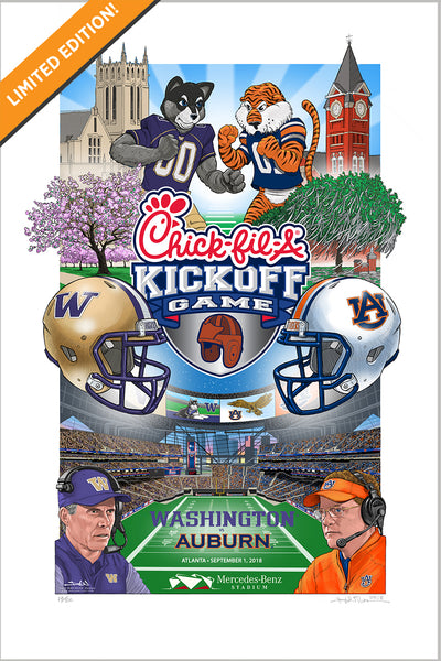 Limited edition print - 2018 Chick-fil-A Kickoff Game gicleé print - Washington vs Auburn