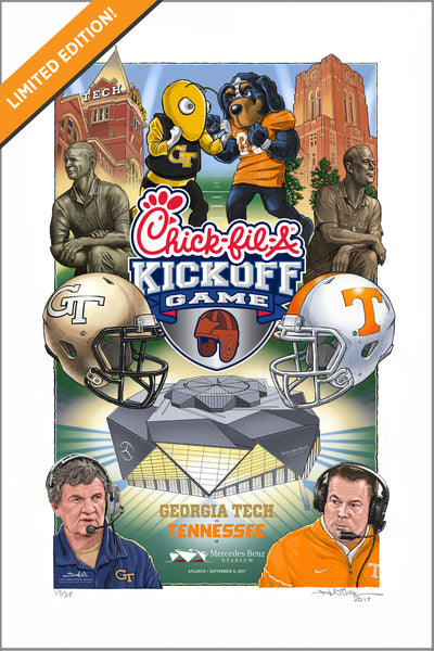 Limited edition 2017 Chick-fil-A Kickoff Game gicleé print - Georgia Tech vs Tennessee