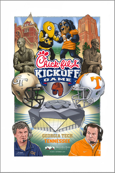 poster - 2017 Chick-fil-A Kickoff Game official art - Georgia Tech vs Tennessee