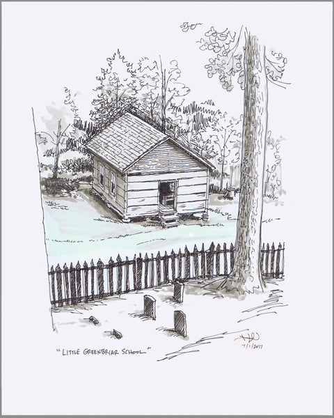 Little Greenbrier School sketch - limited edition gicleé print ©2017