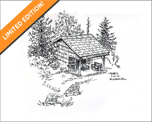 Mt. LeConte cabin sketch. Limited edition gicleé print. ©2012