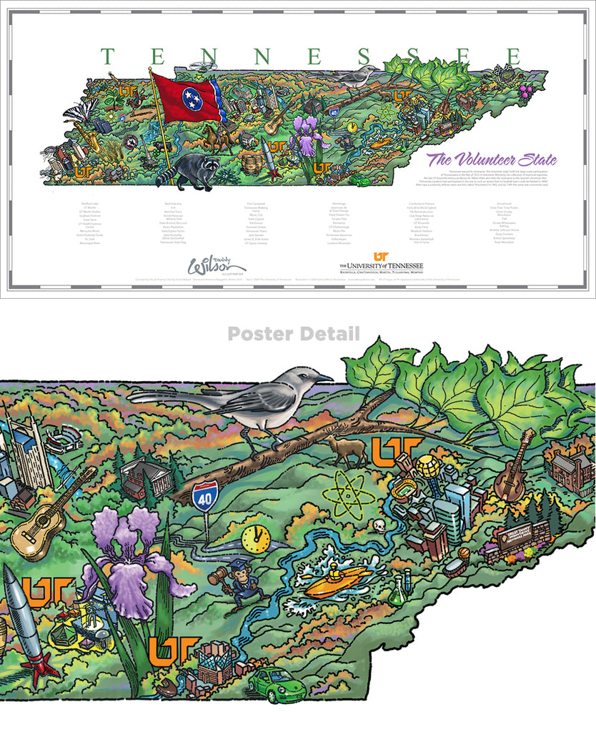 State of Tennessee Illustrated Map poster