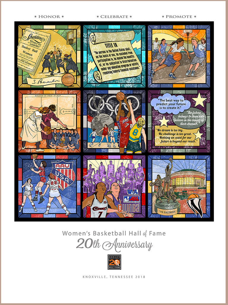 "poster - Women's Basketball Hall of Fame - 20th Anniversary 12"" x 16"" poster"