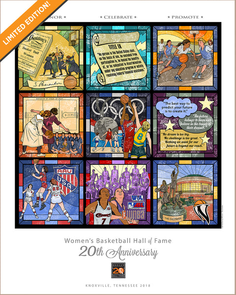 "Women's Basketball Hall of Fame - 20th Anniversary -Limited Edition print - 16"" x 20"""
