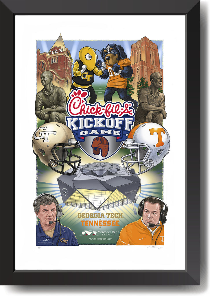 Limited edition print - 2017 Chick-fil-A Kickoff Game gicleé print - Georgia Tech vs Tennessee