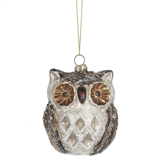 Owl with Gold Eye Christmas Ornament 2