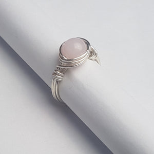 Rose quartz Handmade Colombian, Silver Overlay ring, - Violet House