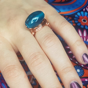 Pthalo green copper ring - Violet House