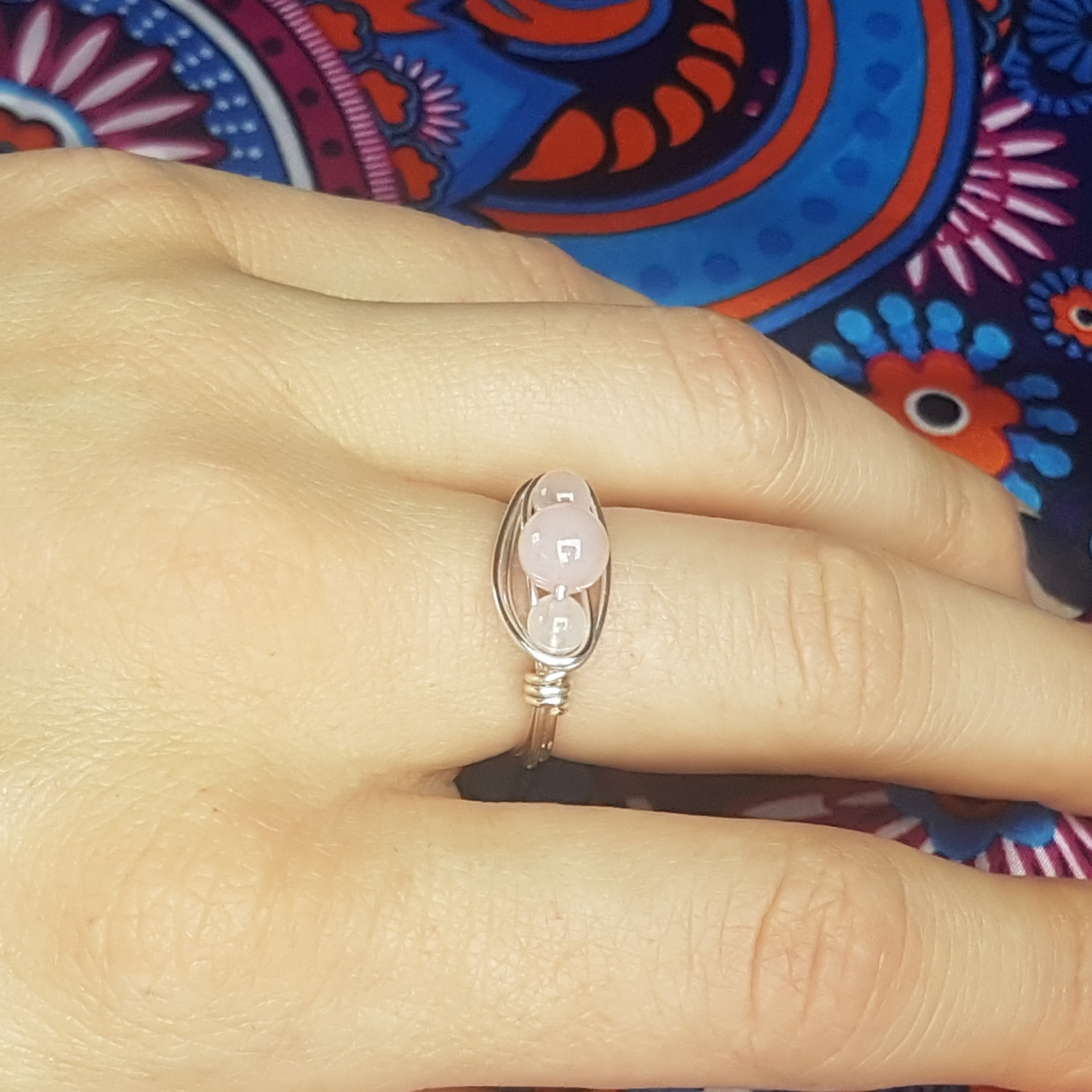 Trio Rose quartz Ring, - Violet House
