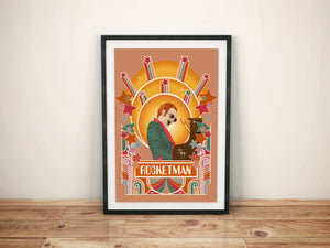 Elton John Print, Rocketman, Orange