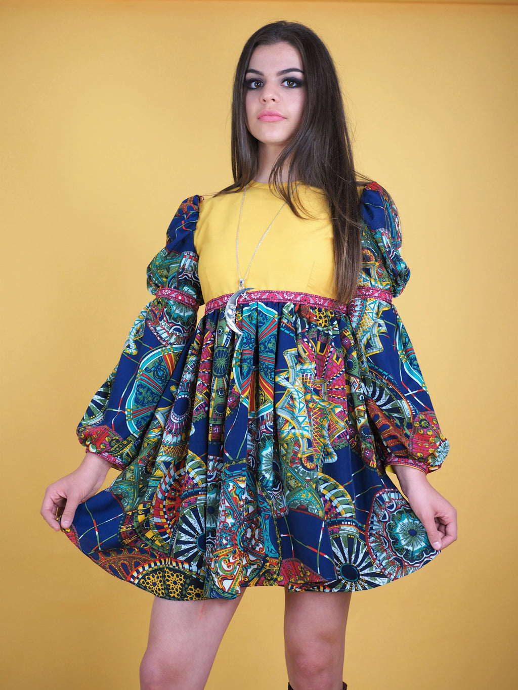 The Pattie Boyd Dress, yellow and blue