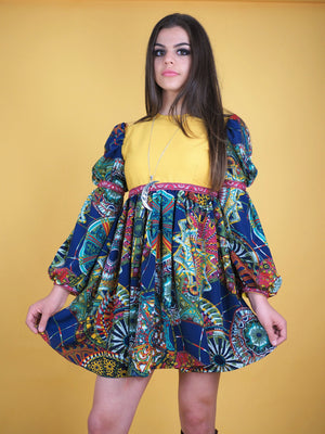The Pattie Boyd Dress, yellow and blue - Violet House