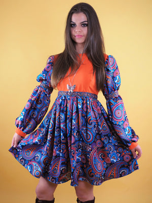 The Pattie Boyd Dress, purple paisley