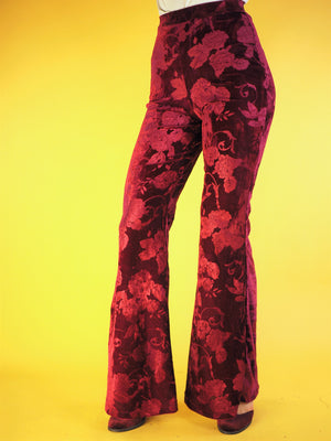 Janis Floral Velvet Bell Bottoms Red - Violet House