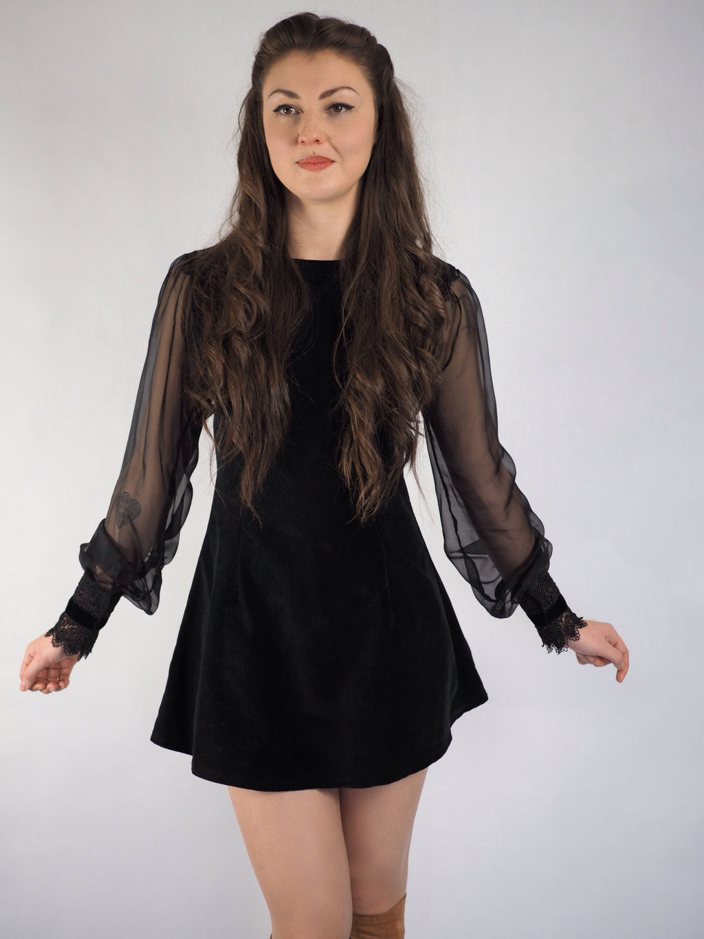 Black Velvet and Chiffon Dress - Violet House