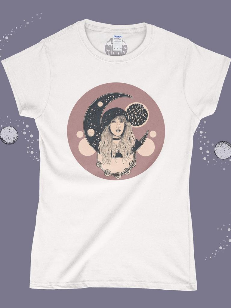 Stevie Nicks Shirt - Moon - White - Ladies