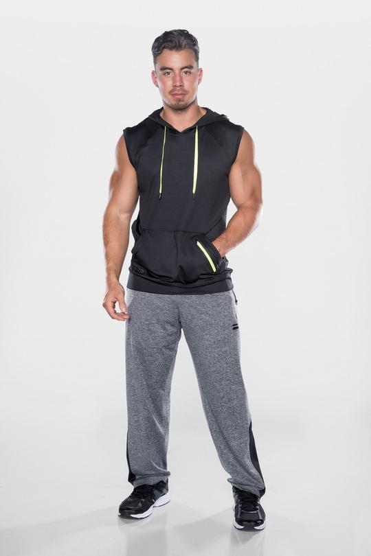 Men's TLF Brand Prime Pullover Sleeveless Hoodie - Black