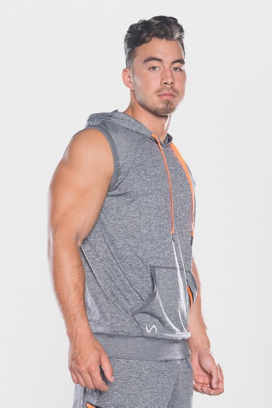 Men's TLF Brand Prime Pullover Sleeveless Hoodie - Grey