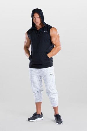 Men's TLF Brand Challenge V-Neck Pullover Sleeveless Hoodie Tee (Black)
