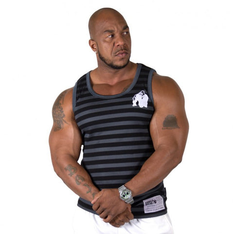 Gorilla Wear Stripe Stretch Tank Top - Black