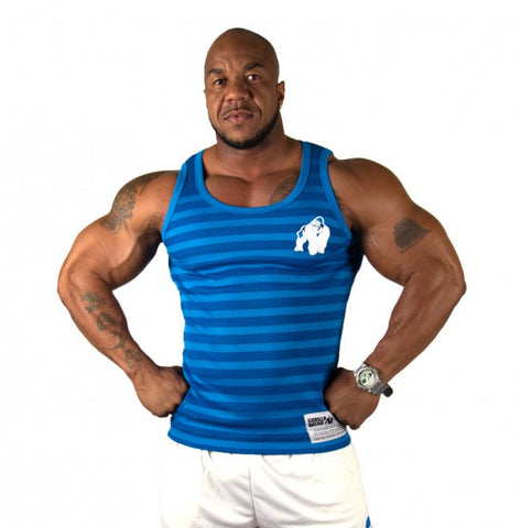 Gorilla Wear Stripe Stretch Tank Top - Blue