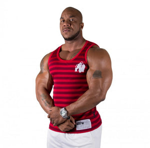Gorilla Wear Stripe Stretch Tank Top - Red