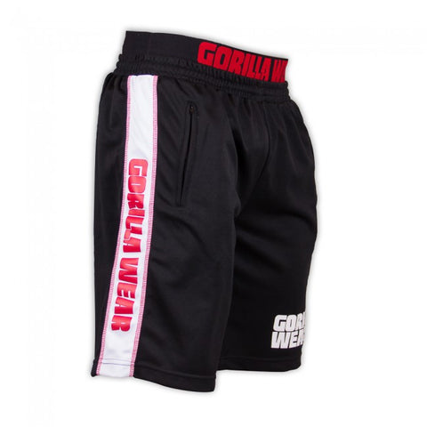 Gorilla Wear - Men's California Mesh Running Track Shorts - Black/Red