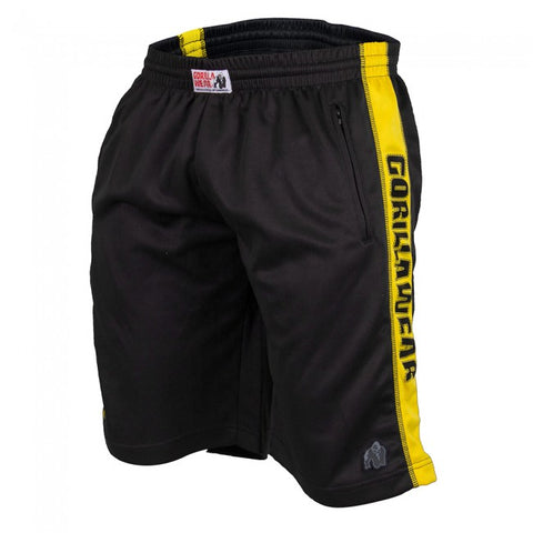 Gorilla Wear - Men's Running Track Shorts - Black/Yellow