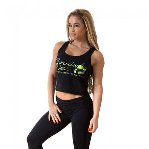 Gorilla Wear Oakland Crop Tank - Black/Neon Lime Camo