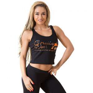Gorilla Wear Oakland Crop Tank - Black/Neon Orange Camo