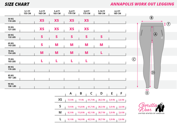 Gorilla Wear - Annapolis Work Out Leggings - Black