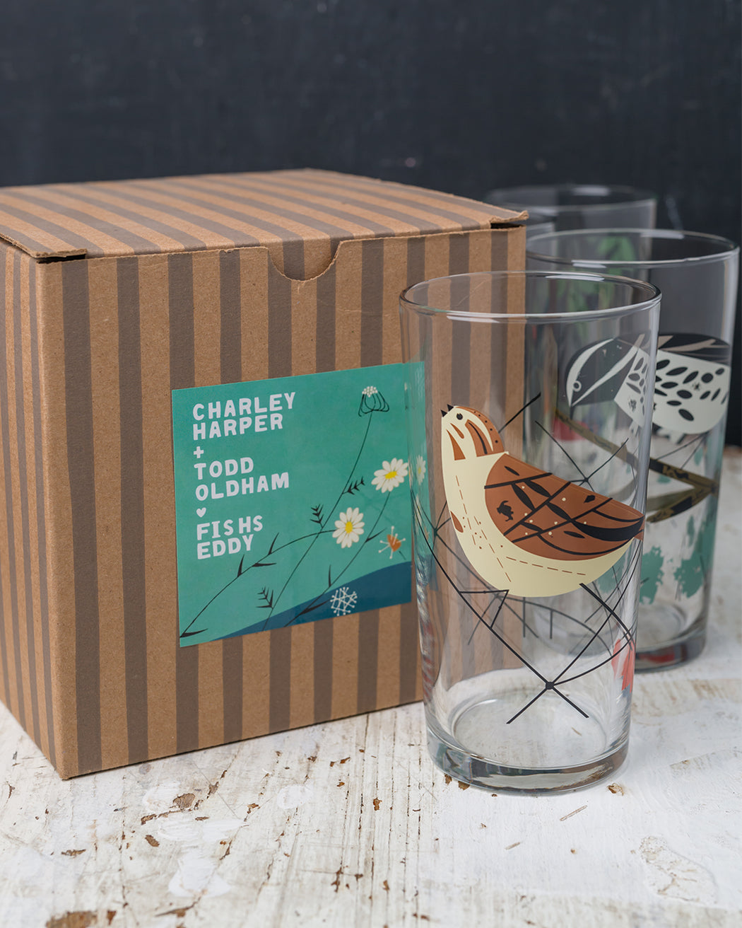 Birds Glasses Gift Box - Set of 4 - Fishs Eddy